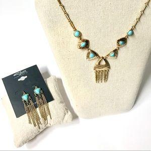 Gold-Tone Textured Boho Faux Turquoise Jewelry Set